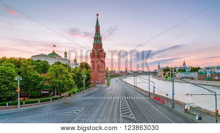 View Vodovzvodnaya Tower of the Moscow Kremlin and the Kremlin embankment to the Great Stone Bridge in the morning