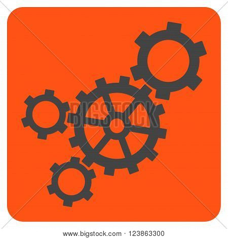 Mechanism vector symbol. Image style is bicolor flat mechanism pictogram symbol drawn on a rounded square with orange and gray colors.