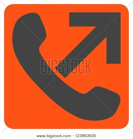 Outgoing Call vector symbol. Image style is bicolor flat outgoing call icon symbol drawn on a rounded square with orange and gray colors.