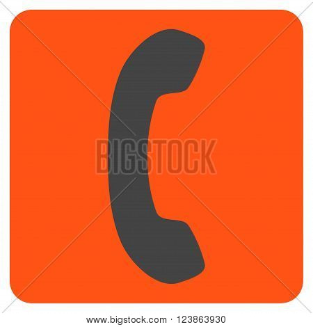Phone Receiver vector icon symbol. Image style is bicolor flat phone receiver icon symbol drawn on a rounded square with orange and gray colors.