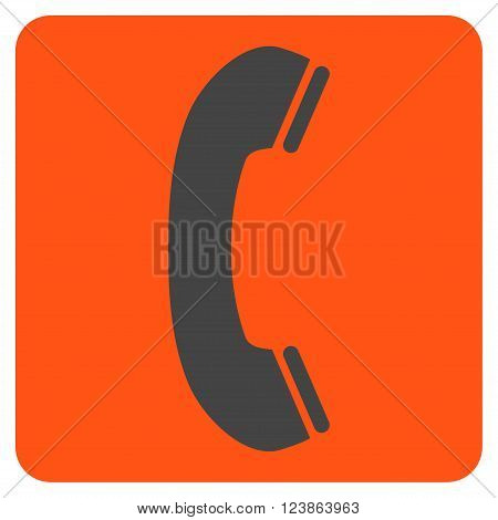 Phone Receiver vector icon. Image style is bicolor flat phone receiver pictogram symbol drawn on a rounded square with orange and gray colors.