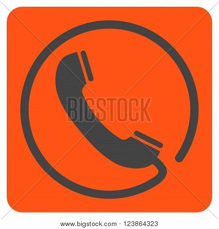 Phone vector icon symbol. Image style is bicolor flat phone iconic symbol drawn on a rounded square with orange and gray colors.