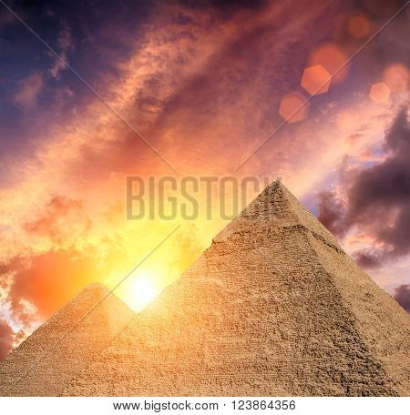 The Pyramids in Egypt Giza with epic sky