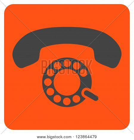 Pulse Dialing vector icon. Image style is bicolor flat pulse dialing pictogram symbol drawn on a rounded square with orange and gray colors.