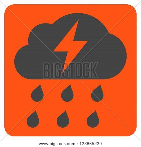 Thunderstorm vector icon symbol. Image style is bicolor flat thunderstorm iconic symbol drawn on a rounded square with orange and gray colors.