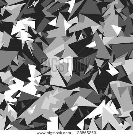 Abstract Grey Military Camouflage Background. Pattern of Geometric Triangles Shapes for Army Clothing