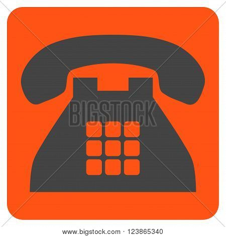Tone Phone vector symbol. Image style is bicolor flat tone phone icon symbol drawn on a rounded square with orange and gray colors.