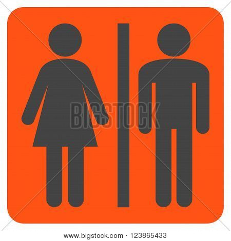 WC Persons vector symbol. Image style is bicolor flat WC persons iconic symbol drawn on a rounded square with orange and gray colors.