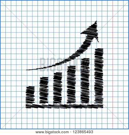 Vector growing graph icon with pen effect on paper.