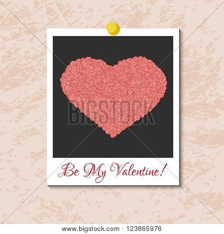Vector instant photo card with heart from pink roses. Element for wedding designs, Valentines Day, web, logo, and other holiday romantic projects.