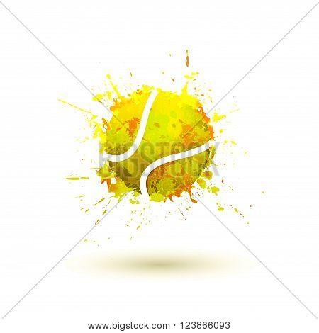 tennis ball. Vector watercolor splash paint illustration