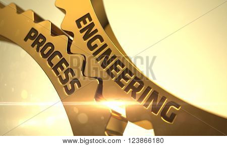 Golden Metallic Cogwheels with Engineering Process Concept. Engineering Process Golden Cog Gears. Engineering Process - Industrial Illustration with Glow Effect and Lens Flare. 3D.