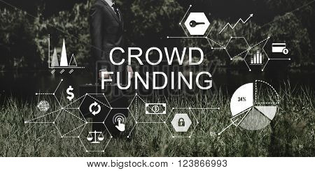 Crowd Funding Supporters Investment Fund raising Contribution Concept