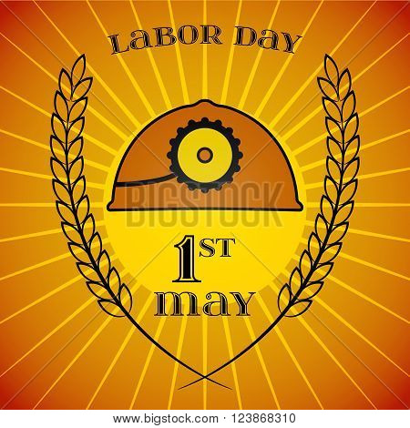May Day. May 1st. Labor Day background with mine helmet and wheat ears over retro rays background. Poster, greeting card or brochure template, symbol of work and labor, vector icon