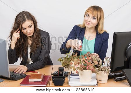 Office Employee Considers Crazy Colleague - A Lover Of Flowers