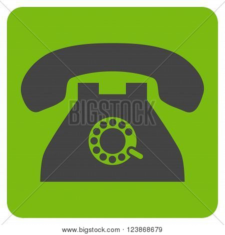 Pulse Phone vector symbol. Image style is bicolor flat pulse phone iconic symbol drawn on a rounded square with eco green and gray colors.