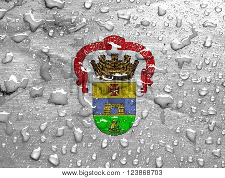 flag of Porto Alegre with rain drops ** Note: Visible grain at 100%, best at smaller sizes