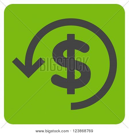 Refund vector icon. Image style is bicolor flat refund icon symbol drawn on a rounded square with eco green and gray colors.