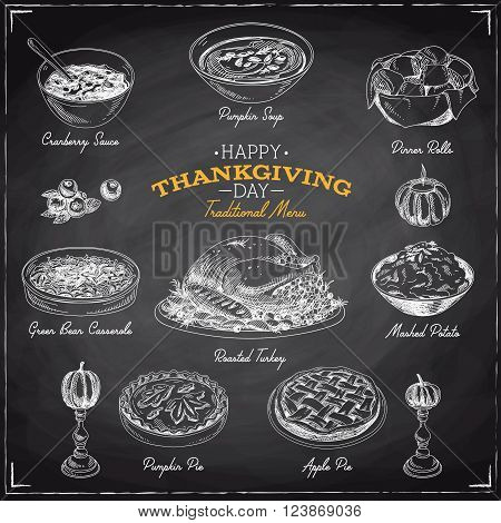 Vector hand drawn sketch Thanksgiving food set. Restaurant menu. Retro illustration. Sketch. Chalkboard