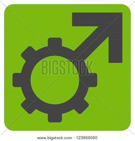 Technological Potence vector pictogram. Image style is bicolor flat technological potence icon symbol drawn on a rounded square with eco green and gray colors.