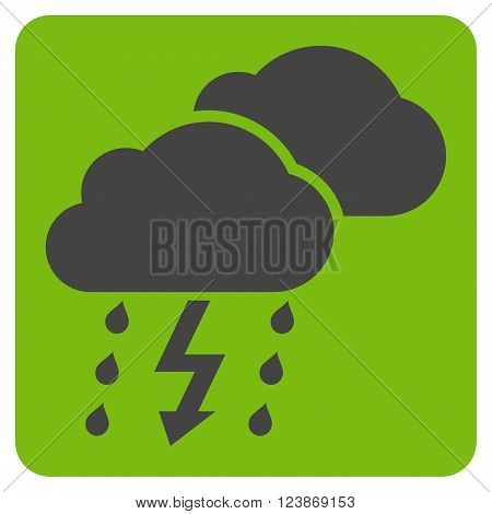 Thunderstorm vector icon symbol. Image style is bicolor flat thunderstorm pictogram symbol drawn on a rounded square with eco green and gray colors.