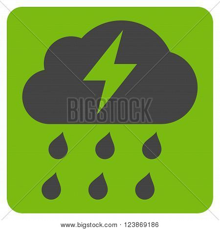 Thunderstorm vector symbol. Image style is bicolor flat thunderstorm icon symbol drawn on a rounded square with eco green and gray colors.