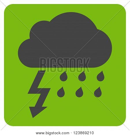 Thunderstorm vector icon symbol. Image style is bicolor flat thunderstorm iconic symbol drawn on a rounded square with eco green and gray colors.