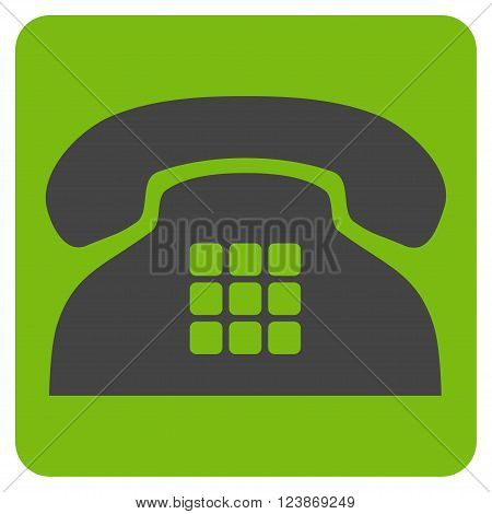 Tone Phone vector pictogram. Image style is bicolor flat tone phone iconic symbol drawn on a rounded square with eco green and gray colors.