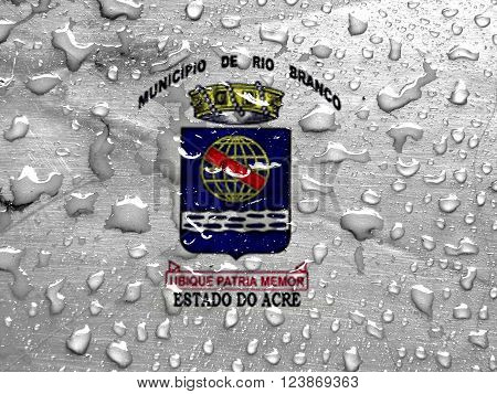 flag of Rio Branco with rain drops ** Note: Visible grain at 100%, best at smaller sizes