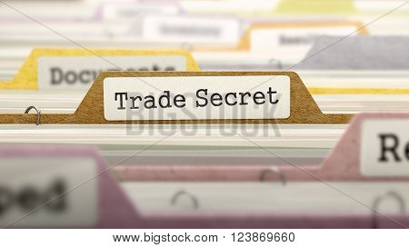 Trade Secret - Folder Register Name in Directory. Colored, Blurred Image. Closeup View. 3D Render.