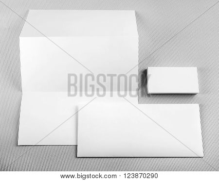Blank stationery set. Mockup for design presentations and portfolios. Template for branding identity. Top view.