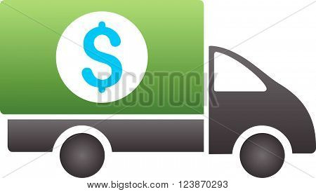 Money Shipment vector toolbar icon for software design. Style is a gradient icon symbol on a white background.