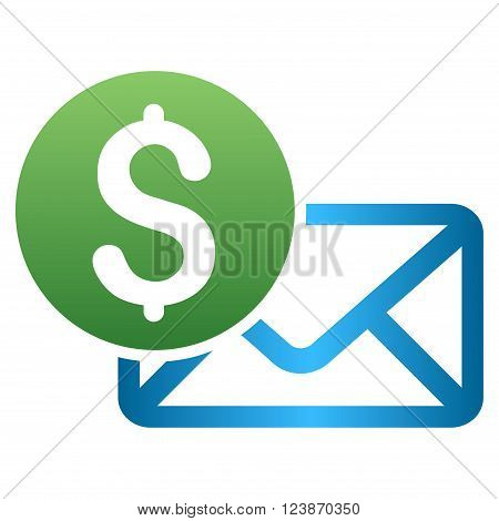 Payment Message Envelope vector toolbar icon for software design. Style is a gradient icon symbol on a white background.