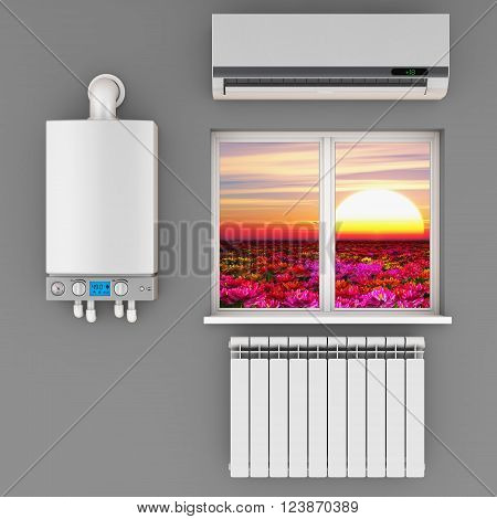 climatic equipment on the wall near a window.3D render.