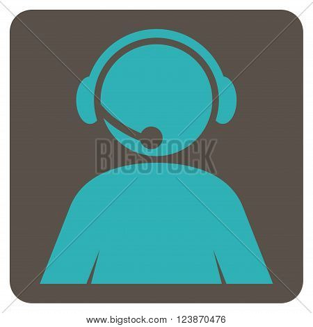 Call Center Operator vector icon. Image style is bicolor flat call center operator iconic symbol drawn on a rounded square with grey and cyan colors.