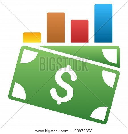Sales Chart vector toolbar icon for software design. Style is a gradient icon symbol on a white background.