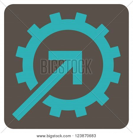 Cog Integration vector symbol. Image style is bicolor flat cog integration iconic symbol drawn on a rounded square with grey and cyan colors.