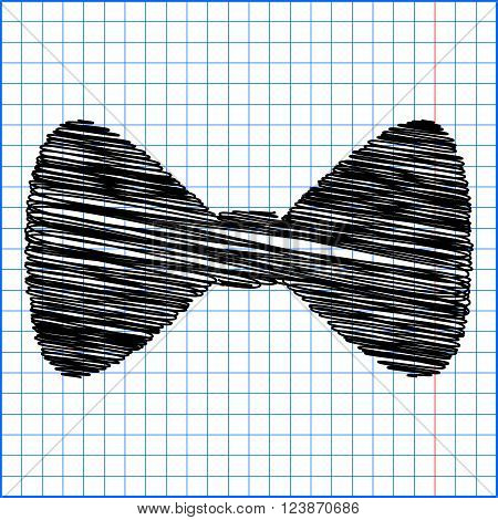 Vector Black Bow Tie icon with pen effect on paper.