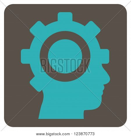 Cyborg Gear vector pictogram. Image style is bicolor flat cyborg gear pictogram symbol drawn on a rounded square with grey and cyan colors.