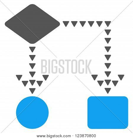 Algorithm Flowchart vector icon. Style is bicolor flat icon symbol, blue and gray colors, white background, triangle dots.