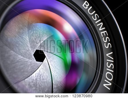 Professional Photo Lens with Business Vision Concept, Closeup. Lens Flare Effect. SLR Camera Lens with Business Vision Inscription. Colorful Lens Flares on Front Glass. 3D.