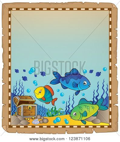 Parchment with underwater theme 9 - eps10 vector illustration.