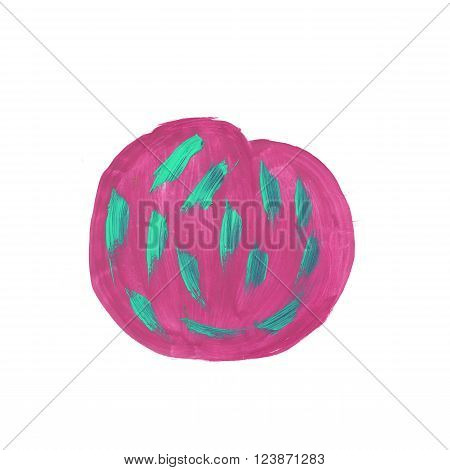 watercolor  circle pink green handmade cross isolated on white background