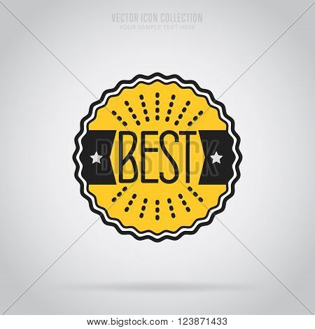 Best badge isolated vector in flat design style. Best icon. Best stamp design. Isolated best badge icon. Badge icon. Advertisement badge. Best label.
