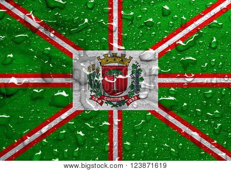 a flag of Curitiba with rain drops ** Note: Visible grain at 100%, best at smaller sizes