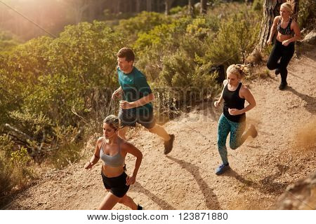 Active young people running on mountain trail. Top view of running club members training together through trails on the hillside outdoors.