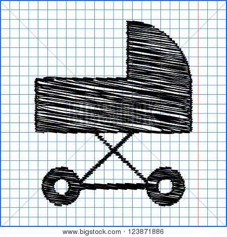 Pram vector icon with pen effect on paper.