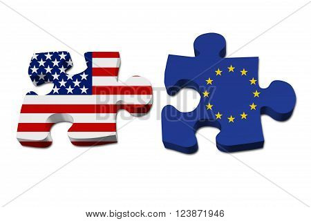 Relationship between the United Stated and European Union Two pieces of a puzzle with the American flag on one and the European Union flag on the other isolated over white,  3D Illustration