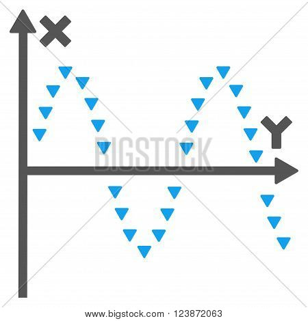 Dotted Sine Plot vector icon. Style is bicolor flat icon symbol blue and gray colors white background triangle dots.
