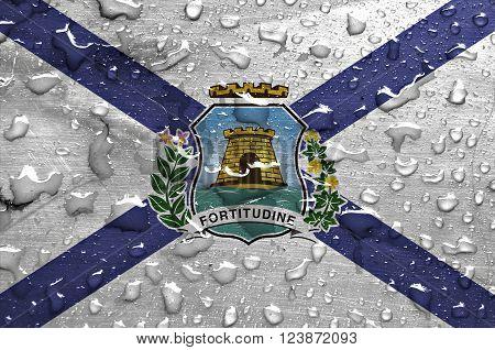 a flag of Fortaleza with rain drops